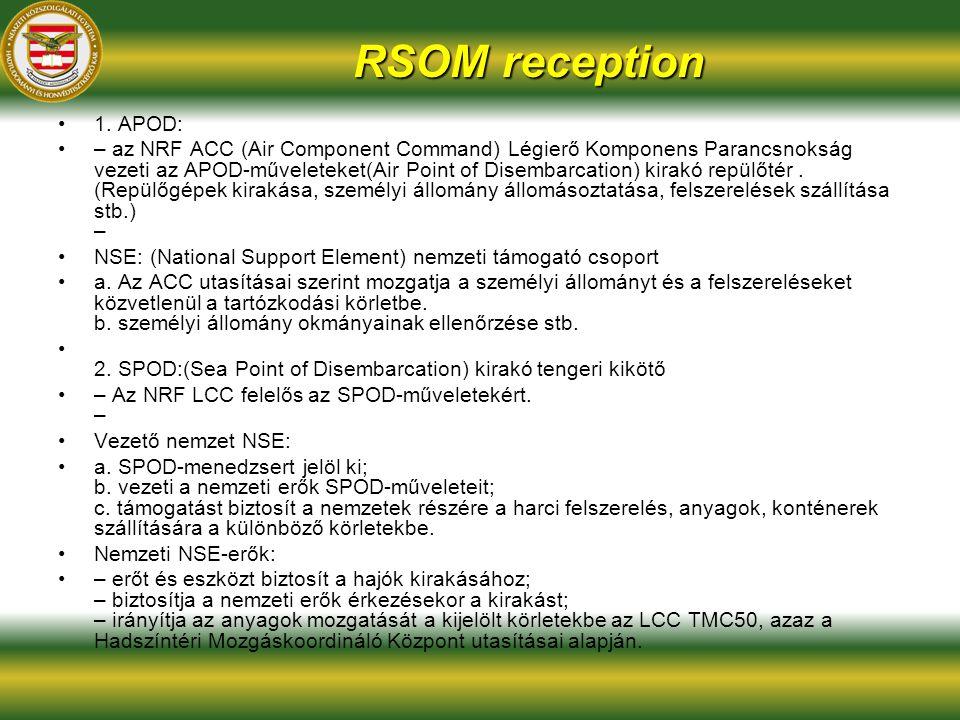 RSOM reception 1. APOD: – az NRF ACC (Air Component Command) Légierő Komponens Parancsnokság vezeti az APOD-műveleteket(Air Point of Disembarcation) k