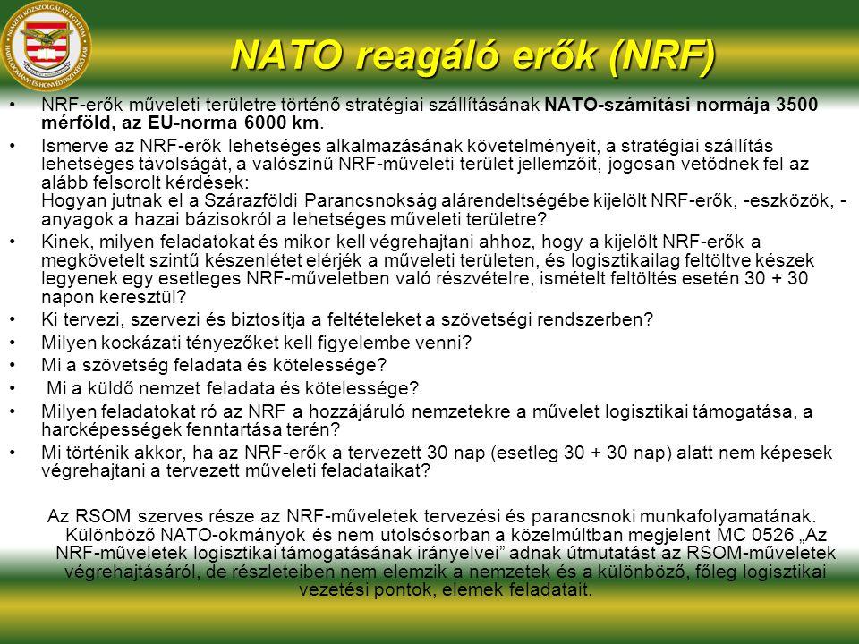 NATO reagáló erők (NRF) NRF-erők műveleti területre történő stratégiai szállításának NATO-számítási normája 3500 mérföld, az EU-norma 6000 km. Ismerve