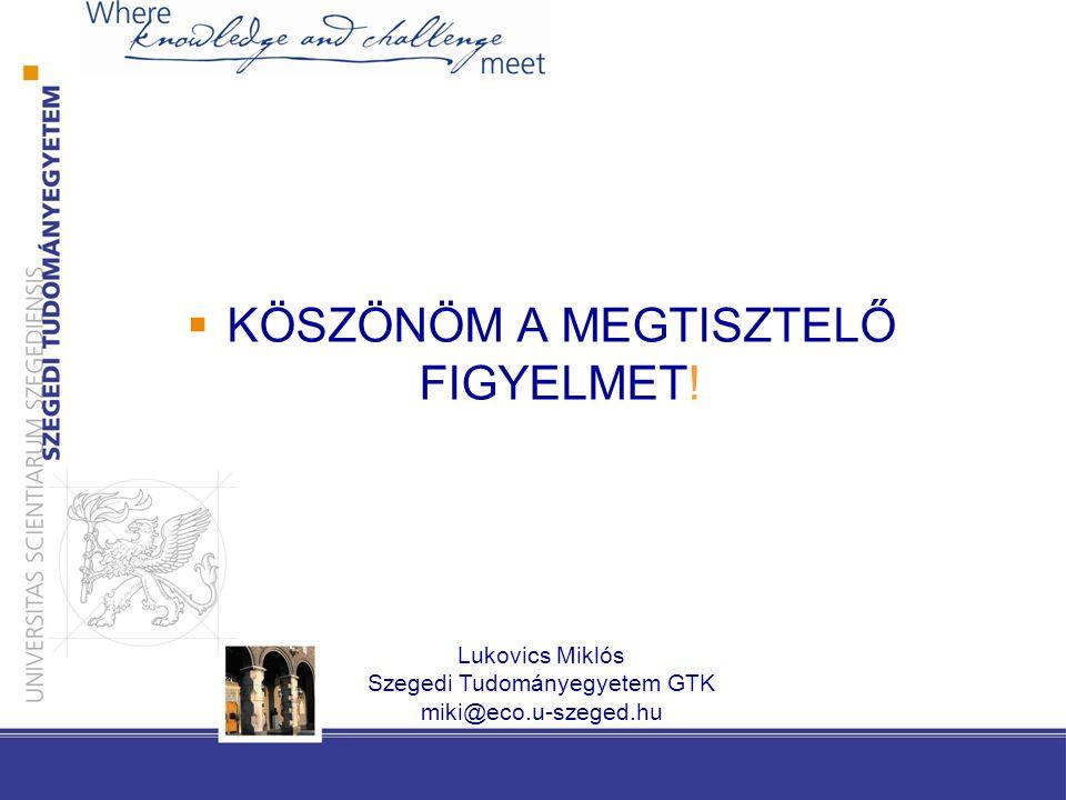  KÖSZÖNÖM A MEGTISZTELŐ FIGYELMET! Lukovics Miklós Szegedi Tudományegyetem GTK miki@eco.u-szeged.hu