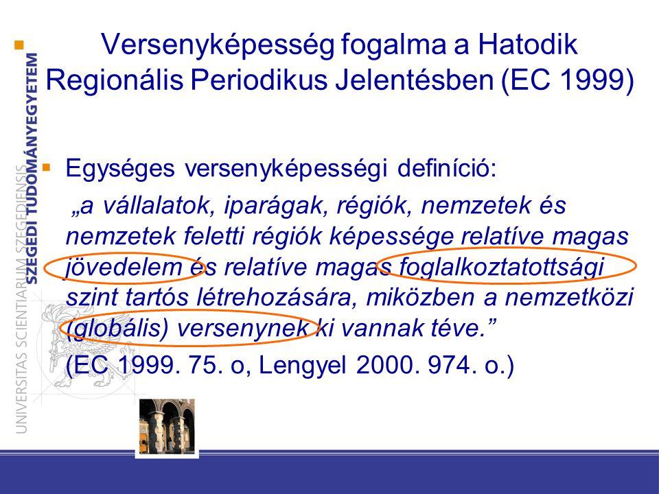 """ Egységes versenyképességi definíció: """"a vállalatok, iparágak, régiók, nemzetek és nemzetek feletti régiók képessége relatíve magas jövedelem és relatíve magas foglalkoztatottsági szint tartós létrehozására, miközben a nemzetközi (globális) versenynek ki vannak téve. (EC 1999."""