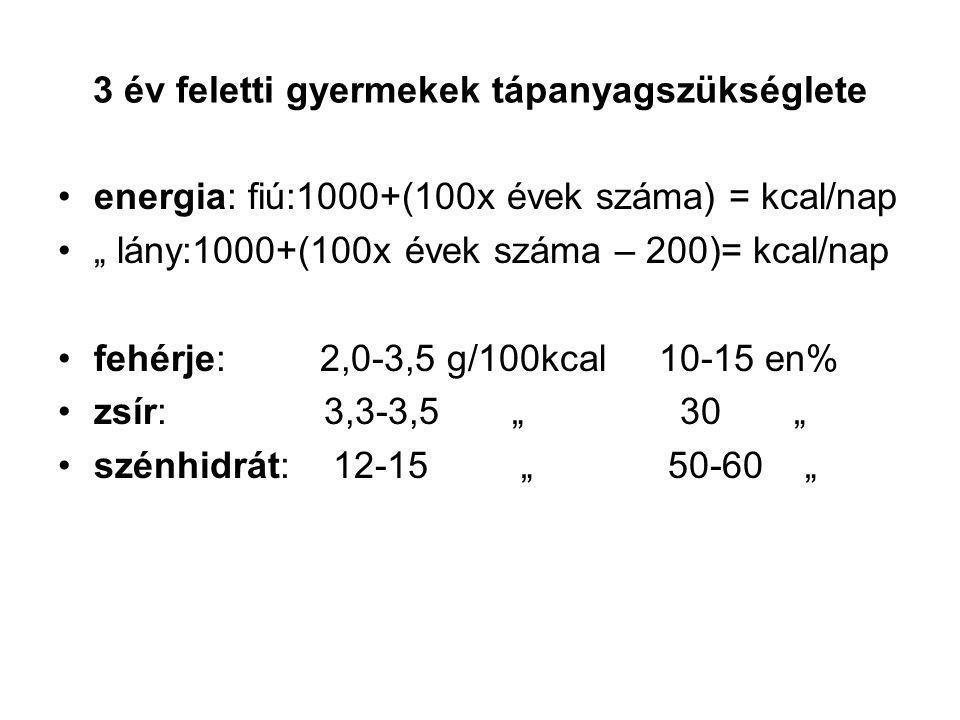 """3 év feletti gyermekek tápanyagszükséglete energia: fiú:1000+(100x évek száma) = kcal/nap """" lány:1000+(100x évek száma – 200)= kcal/nap fehérje: 2,0-3,5 g/100kcal 10-15 en% zsír: 3,3-3,5 """" 30 """" szénhidrát: 12-15 """" 50-60 """""""