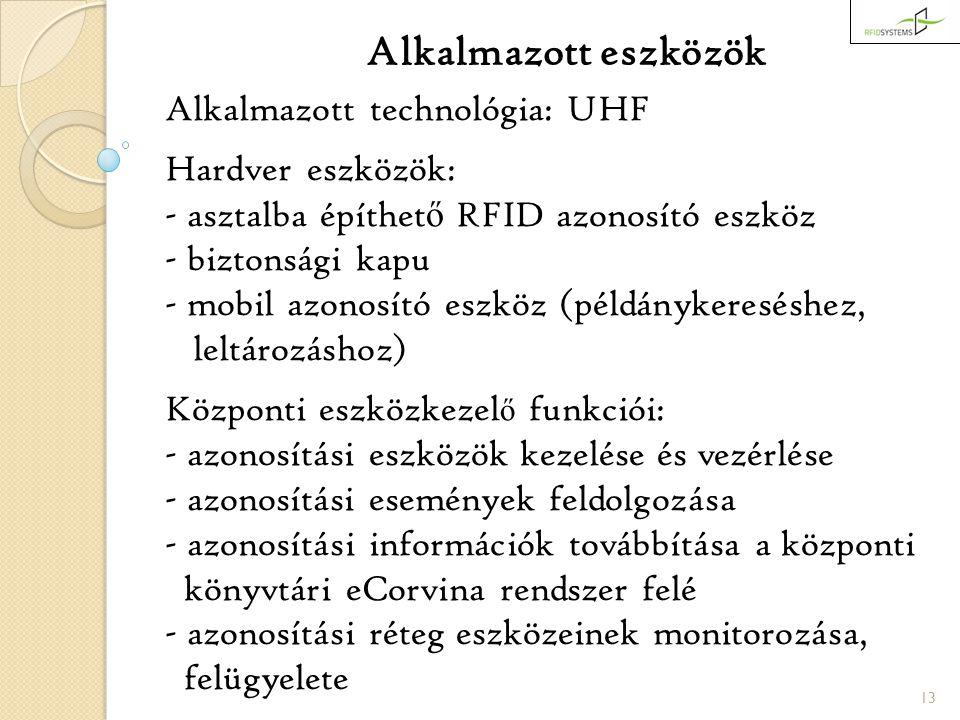 13 Alkalmazott eszközök Alkalmazott technológia: UHF Hardver eszközök: - asztalba építhet ő RFID azonosító eszköz - biztonsági kapu - mobil azonosító eszköz (példánykereséshez, leltározáshoz) Központi eszközkezel ő funkciói: - azonosítási eszközök kezelése és vezérlése - azonosítási események feldolgozása - azonosítási információk továbbítása a központi könyvtári eCorvina rendszer felé - azonosítási réteg eszközeinek monitorozása, felügyelete