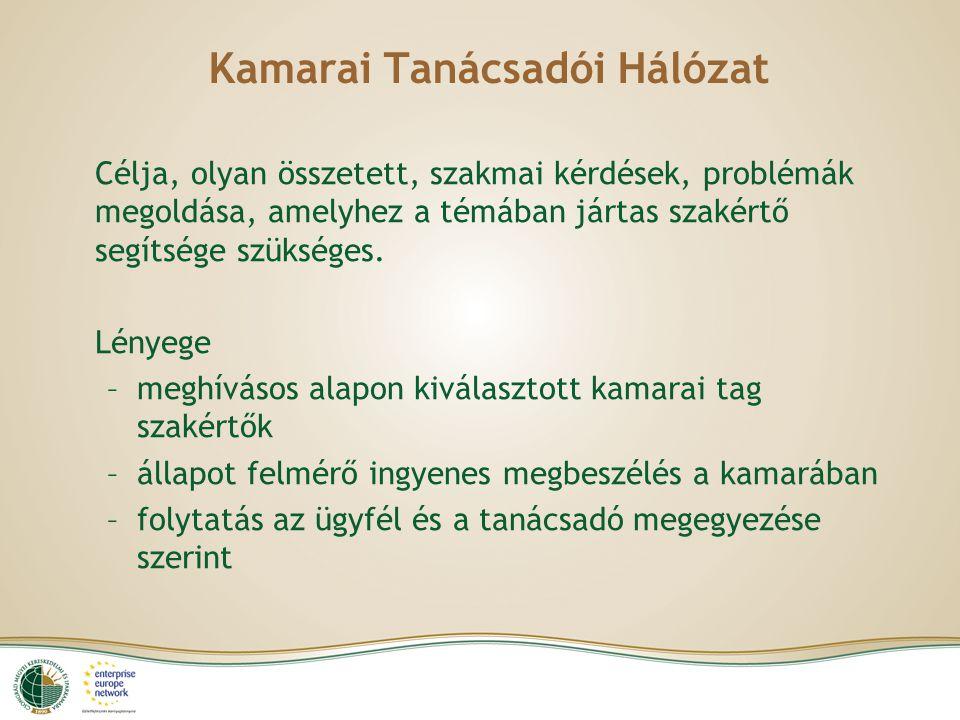Kamarai Tanácsadói Hálózat Célja, olyan összetett, szakmai kérdések, problémák megoldása, amelyhez a témában jártas szakértő segítsége szükséges.