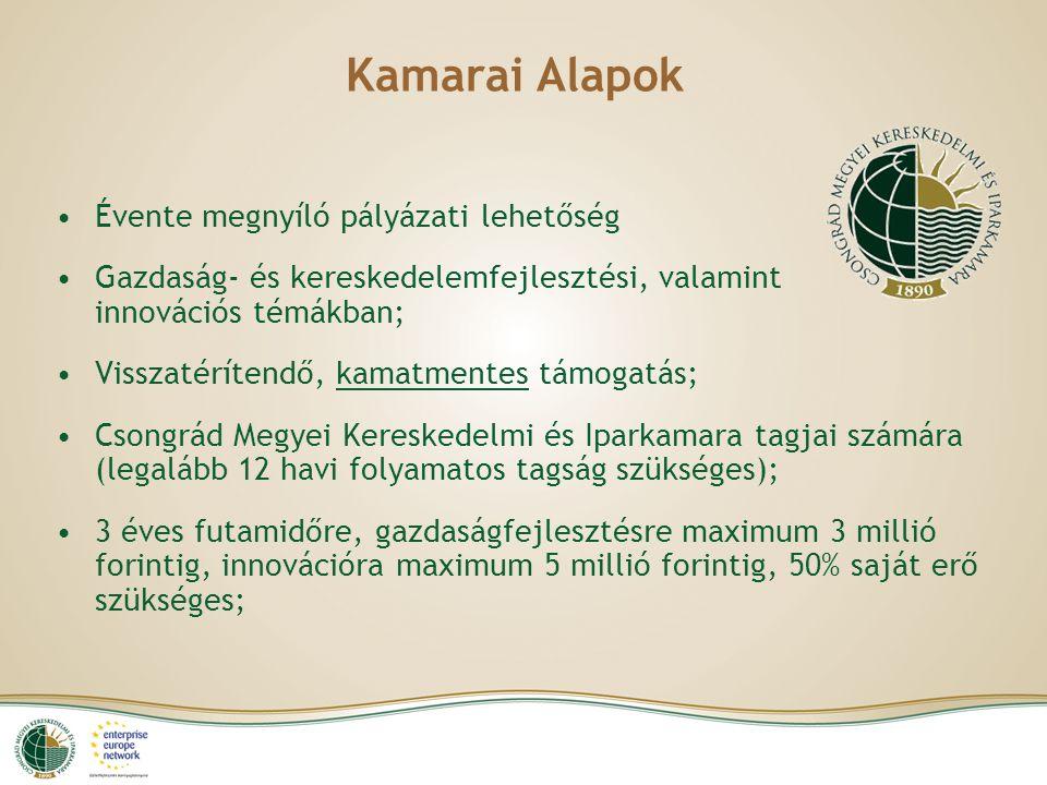 Kamarai Alapok Évente megnyíló pályázati lehetőség Gazdaság- és kereskedelemfejlesztési, valamint innovációs témákban; Visszatérítendő, kamatmentes tá