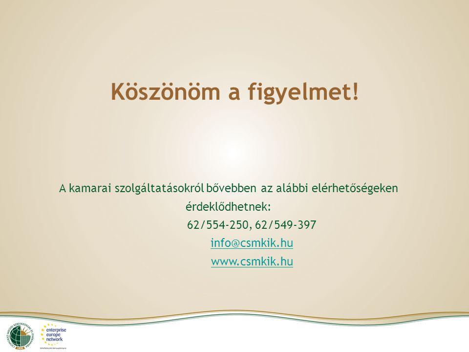 Köszönöm a figyelmet! A kamarai szolgáltatásokról bővebben az alábbi elérhetőségeken érdeklődhetnek: 62/554-250, 62/549-397 info@csmkik.hu www.csmkik.