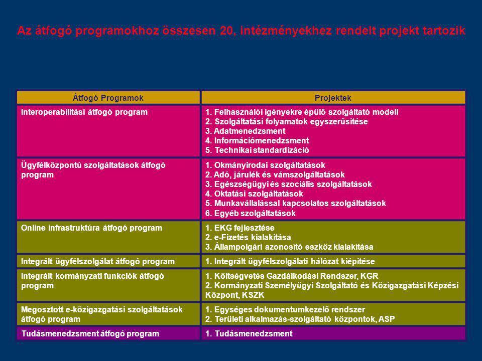 Az átfogó programokhoz összesen 20, intézményekhez rendelt projekt tartozik Átfogó ProgramokProjektek Interoperabilitási átfogó program1. Felhasználói