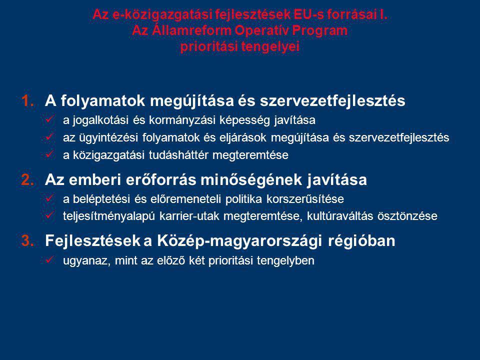 Az e-közigazgatási fejlesztések EU-s forrásai I. Az Államreform Operatív Program prioritási tengelyei 1.A folyamatok megújítása és szervezetfejlesztés