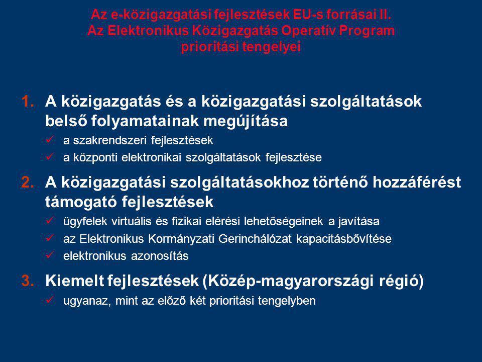Az e-közigazgatási fejlesztések EU-s forrásai II. Az Elektronikus Közigazgatás Operatív Program prioritási tengelyei 1.A közigazgatás és a közigazgatá