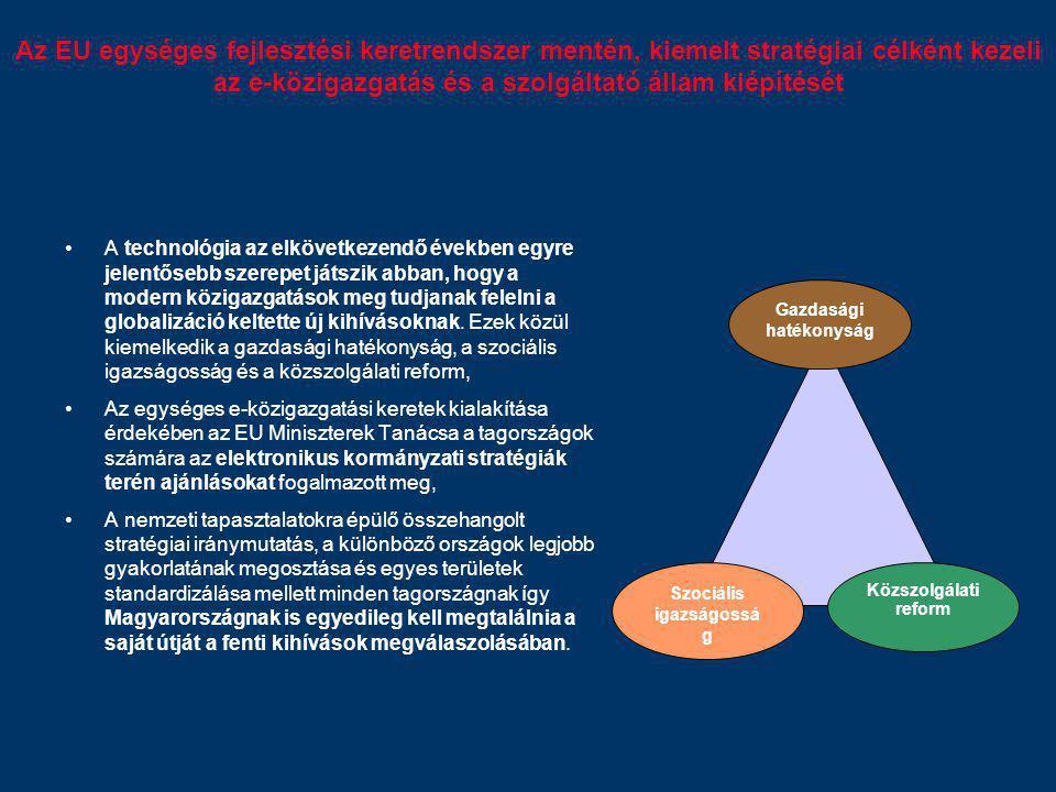 Az EU egységes fejlesztési keretrendszer mentén, kiemelt stratégiai célként kezeli az e-közigazgatás és a szolgáltató állam kiépítését A technológia a