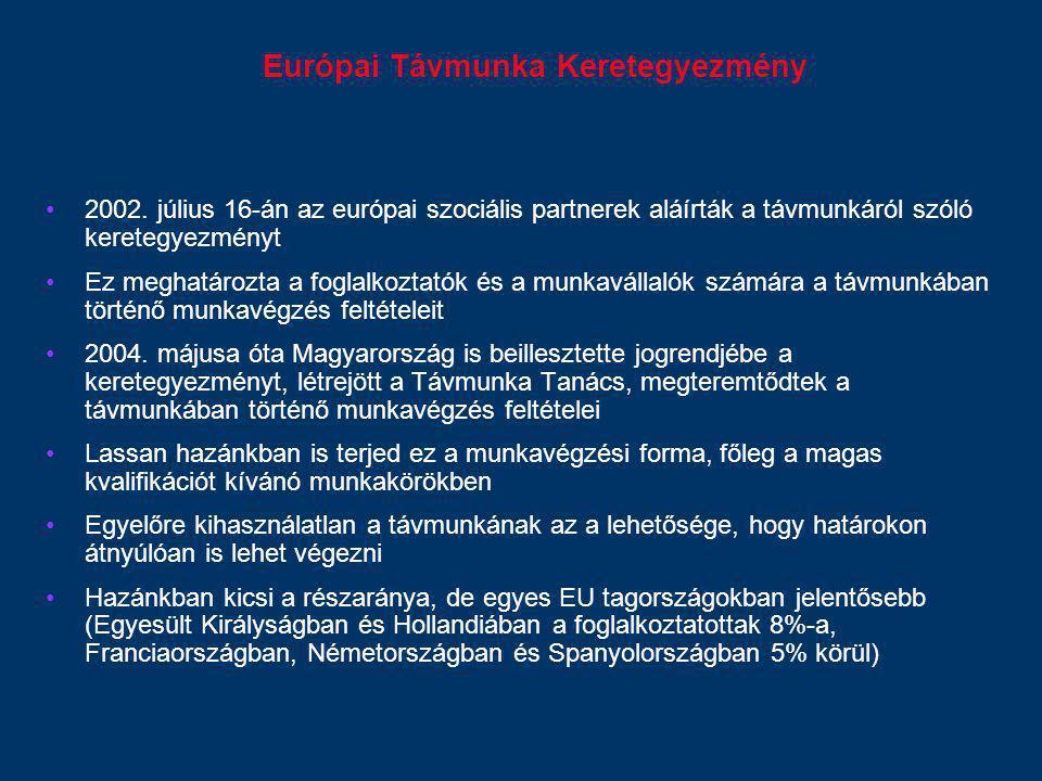 Európai Távmunka Keretegyezmény 2002. július 16-án az európai szociális partnerek aláírták a távmunkáról szóló keretegyezményt Ez meghatározta a fogla