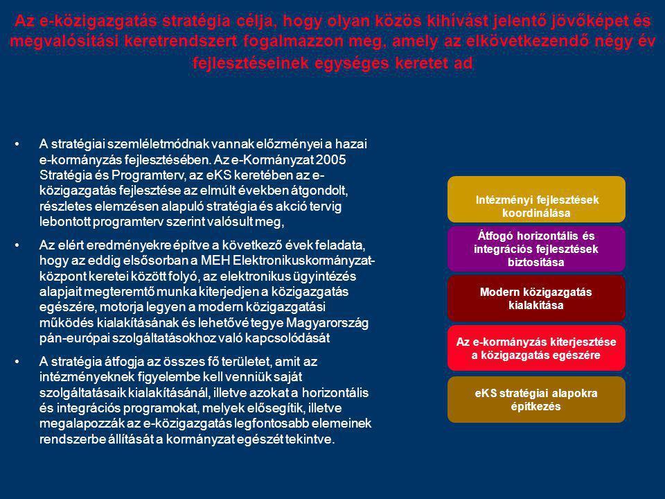 Az e-közigazgatás stratégia célja, hogy olyan közös kihívást jelentő jövőképet és megvalósítási keretrendszert fogalmazzon meg, amely az elkövetkezend