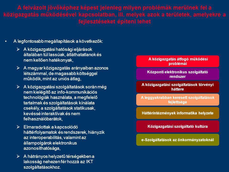A felvázolt jövőképhez képest jelenleg milyen problémák merülnek fel a közigazgatás működésével kapcsolatban, ill. melyek azok a területek, amelyekre