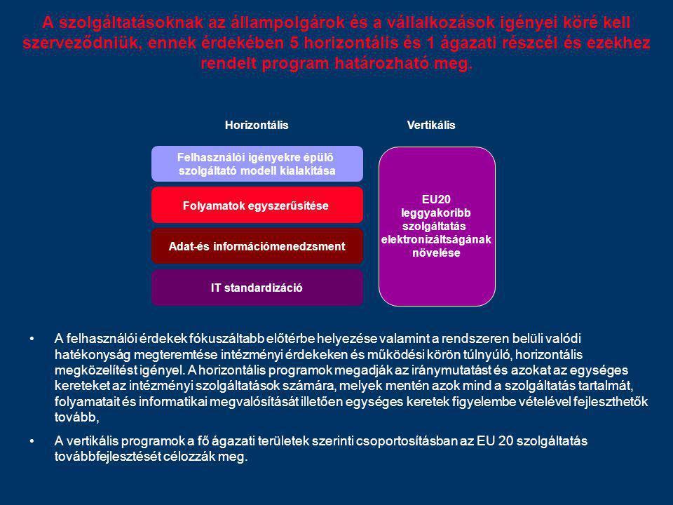 A szolgáltatásoknak az állampolgárok és a vállalkozások igényei köré kell szerveződniük, ennek érdekében 5 horizontális és 1 ágazati részcél és ezekhe