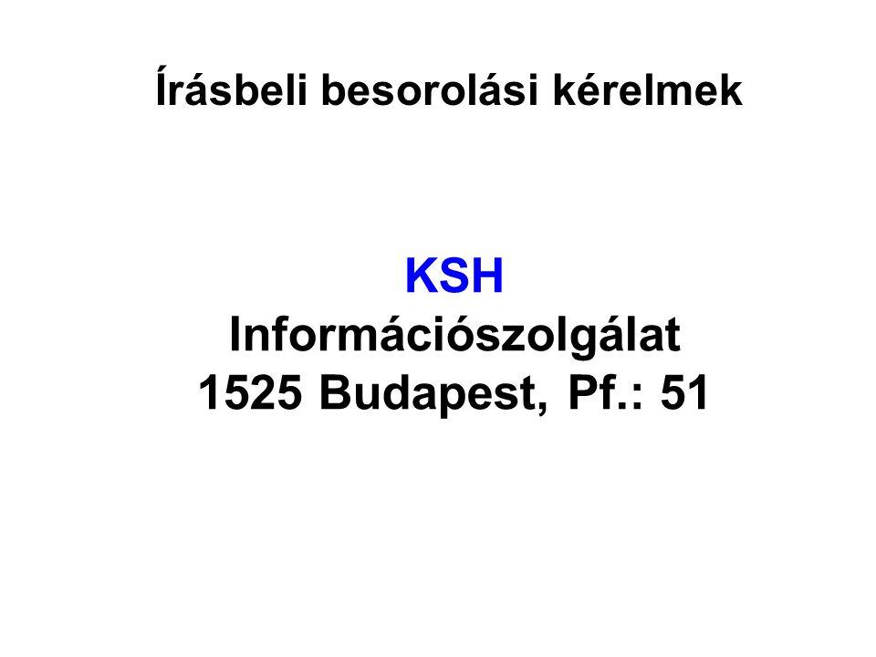 Írásbeli besorolási kérelmek KSH Információszolgálat 1525 Budapest, Pf.: 51