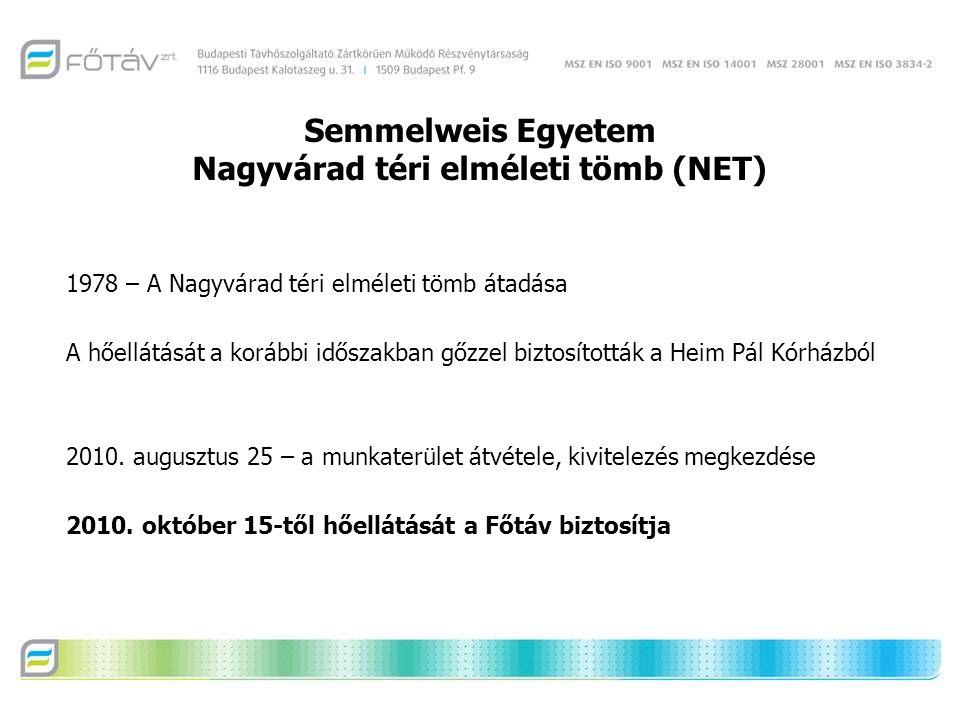Semmelweis Egyetem Nagyvárad téri elméleti tömb (NET) 1978 – A Nagyvárad téri elméleti tömb átadása A hőellátását a korábbi időszakban gőzzel biztosították a Heim Pál Kórházból 2010.