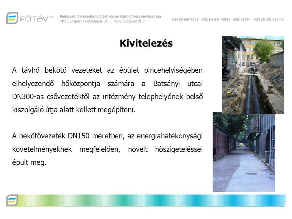 A távhő bekötő vezetéket az épület pincehelyiségében elhelyezendő hőközpontja számára a Batsányi utcai DN300-as csővezetéktől az intézmény telephelyének belső kiszolgáló útja alatt kellett megépíteni.