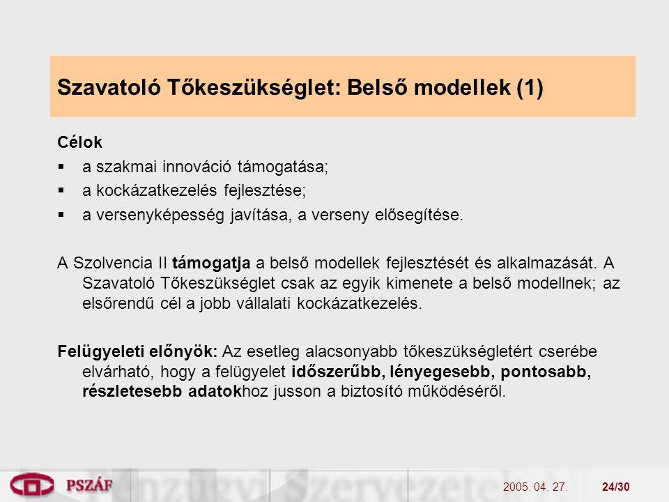2005. 04. 27.24/30 Szavatoló Tőkeszükséglet: Belső modellek (1) Célok  a szakmai innováció támogatása;  a kockázatkezelés fejlesztése;  a versenyké