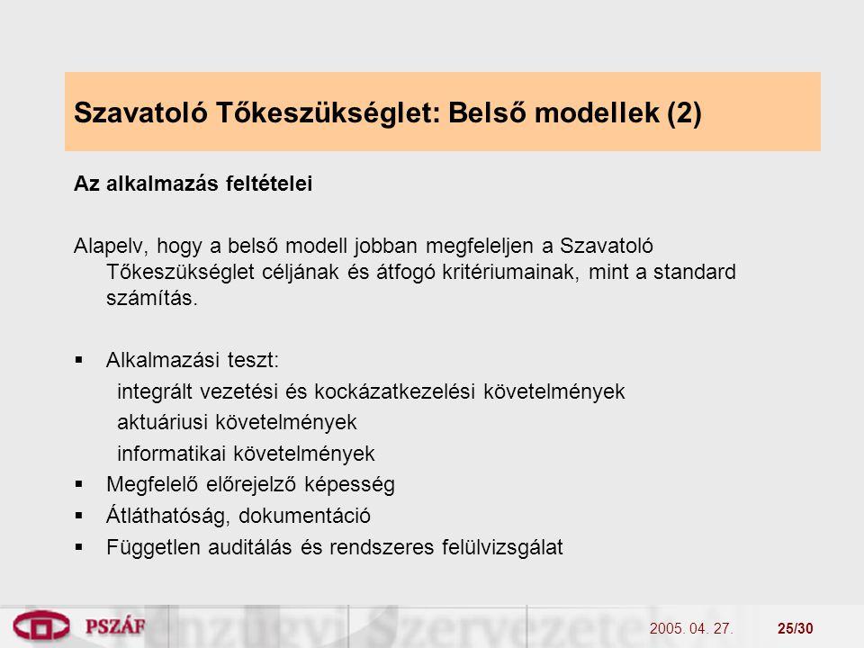 2005. 04. 27.25/30 Szavatoló Tőkeszükséglet: Belső modellek (2) Az alkalmazás feltételei Alapelv, hogy a belső modell jobban megfeleljen a Szavatoló T