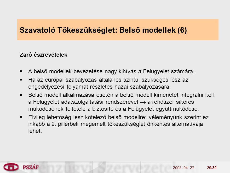2005. 04. 27.29/30 Szavatoló Tőkeszükséglet: Belső modellek (6) Záró észrevételek  A belső modellek bevezetése nagy kihívás a Felügyelet számára.  H
