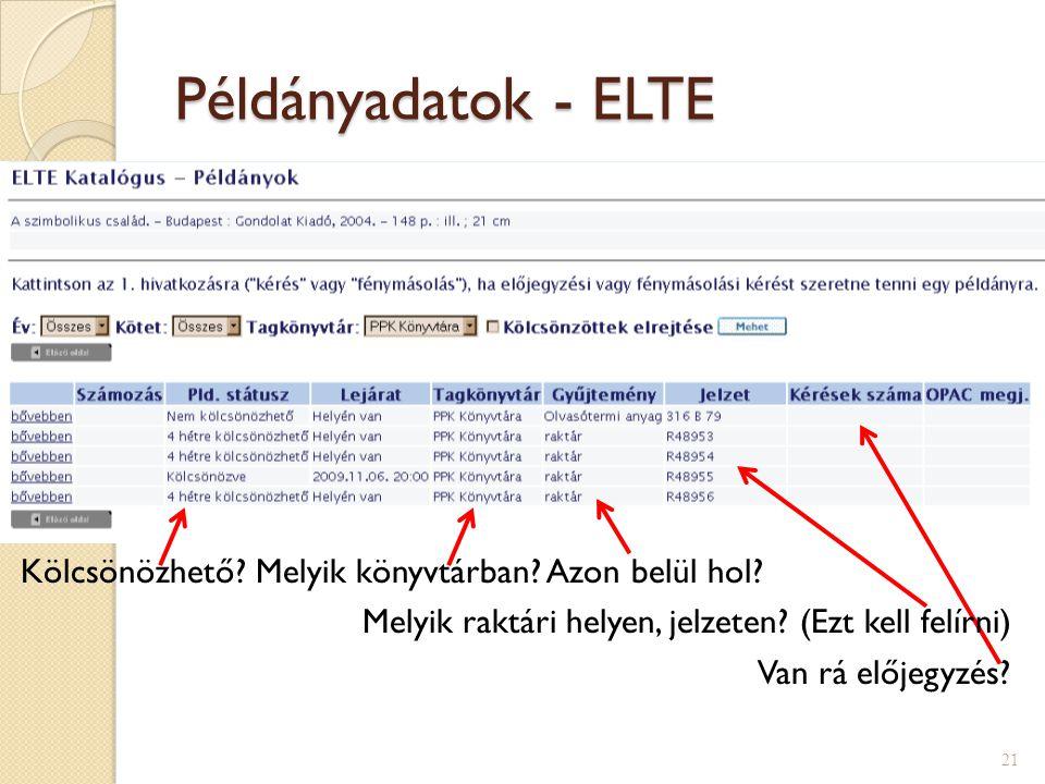 Példányadatok - ELTE 21 Kölcsönözhető? Melyik könyvtárban? Azon belül hol? Melyik raktári helyen, jelzeten? (Ezt kell felírni) Van rá előjegyzés?