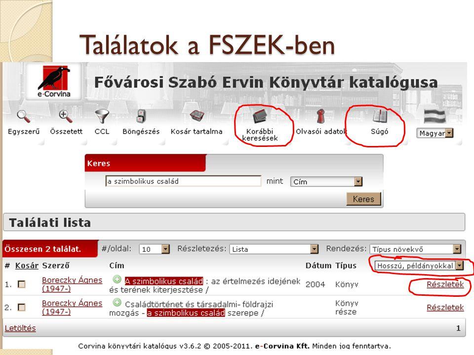 Találatok a FSZEK-ben 24