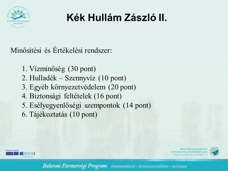 Kék Hullám Zászló II. Minősítési és Értékelési rendszer: 1.