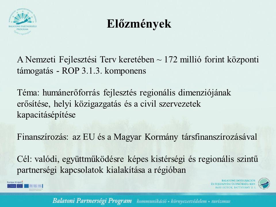Előzmények A Nemzeti Fejlesztési Terv keretében ~ 172 millió forint központi támogatás - ROP 3.1.3.