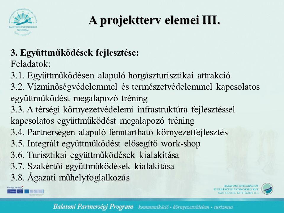A projektterv elemei III. 3. Együttműködések fejlesztése: Feladatok: 3.1.