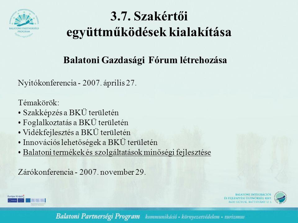Balatoni Gazdasági Fórum létrehozása Nyitókonferencia - 2007.