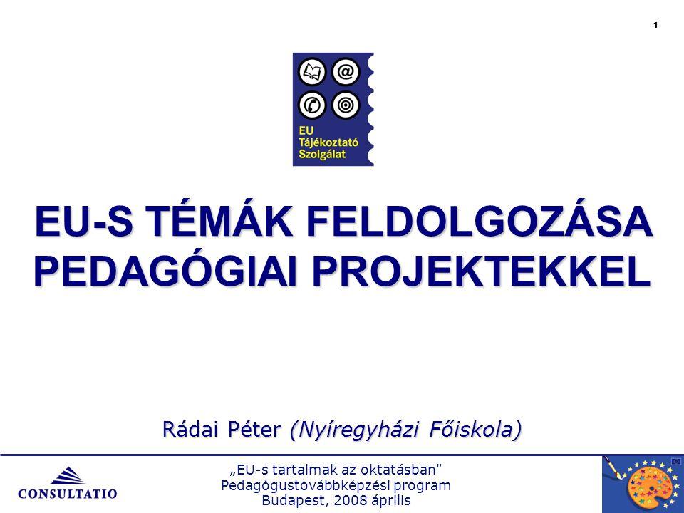 """""""EU-s tartalmak az oktatásban Pedagógustovábbképzési program Budapest, 2008 április 2  egyedi szervezeti környezetben történik  összefüggő tevékenységek sorozata  kontextustól függő cél vagy célok megvalósítása  meghatározott idő alatt  meghatározott humán- és anyagi erőforrásokkal, eszközökkel  kollektív tevékenységek folyamata  egyedi és előre meghatározott eredményt és hatást hoz létre  szükségszerűen tartalmaz értékelést A PROJEKT JELLEMZŐI A projekt:"""