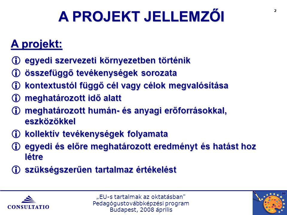 """""""EU-s tartalmak az oktatásban Pedagógustovábbképzési program Budapest, 2008 április 3 SzemélyeskompetenciákSzociáliskompetenciák Önálló cselekvésre, feladatmegoldásra való képesség Ismeretek és ezek alkalmazására való képesség Problémák, feladatok megoldásához szükséges stratégiák, technikák ismerete és alkalmazásuk képessége KOMPETENCIA-FEJLESZTÉS PEDAGÓGIAI PROJEKTEKKEL"""
