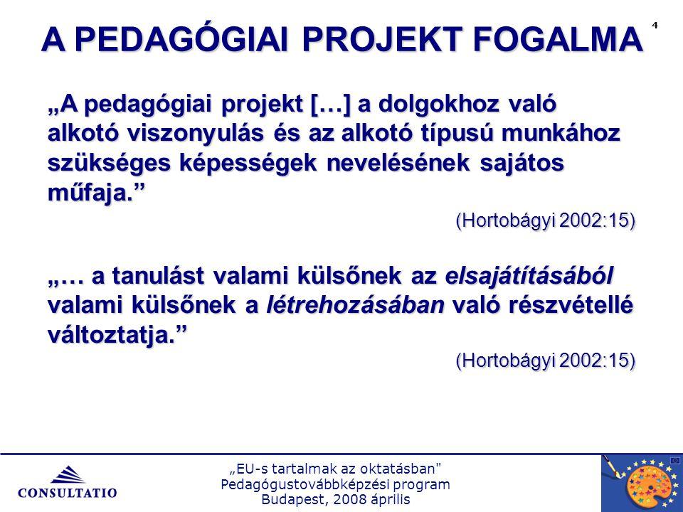 """""""EU-s tartalmak az oktatásban Pedagógustovábbképzési program Budapest, 2008 április 5 1.Valóságos tárgyi vagy szellemi produktum létrehozásának valóságos vagy szimulált folyamata 2.A pedagógia projekt mindig komplex 3.A pedagógia projekt szükségképpen kooperatív 4.A pedagógia projekt a differenciálás eszköze A PEDAGÓGIAI PROJEKT FŐ ISMÉRVEI"""