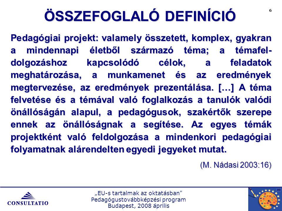 """""""EU-s tartalmak az oktatásban Pedagógustovábbképzési program Budapest, 2008 április 7 Kezdeményezés Tervezés Megvalósítás Értékelés FOLYAMATKÖVETÉS DOKUMENTÁLÁS TERJESZTÉS A PROJEKT FOLYAMATÁBRÁJA"""