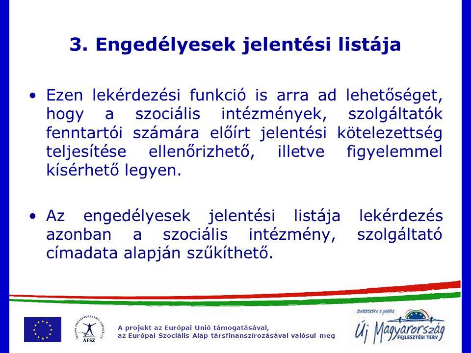A projekt az Európai Unió támogatásával, az Európai Szociális Alap társfinanszírozásával valósul meg 3.