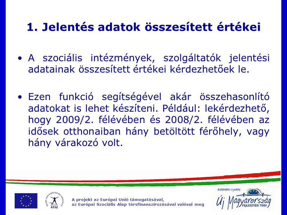 A projekt az Európai Unió támogatásával, az Európai Szociális Alap társfinanszírozásával valósul meg 1.