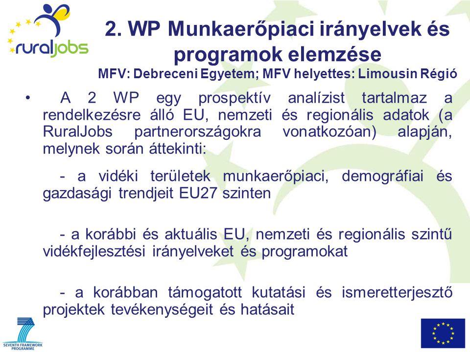 2. WP Munkaerőpiaci irányelvek és programok elemzése MFV: Debreceni Egyetem; MFV helyettes: Limousin Régió A 2 WP egy prospektív analízist tartalmaz a