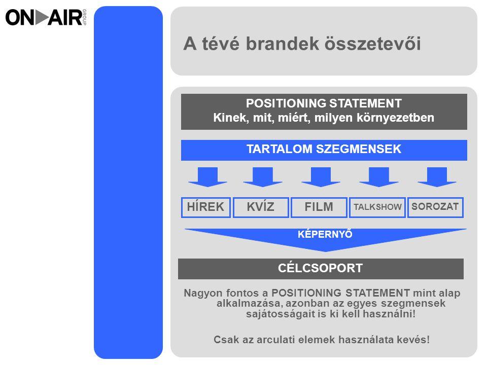 A tévé brandek összetevői Nagyon fontos a POSITIONING STATEMENT mint alap alkalmazása, azonban az egyes szegmensek sajátosságait is ki kell használni.