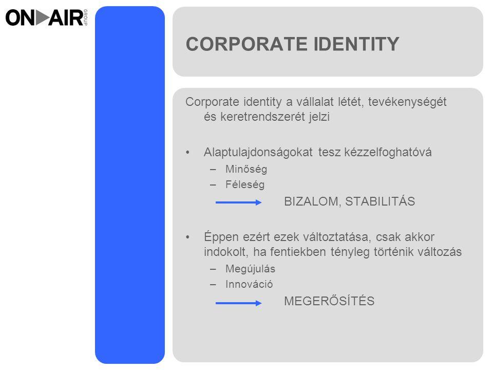 CORPORATE IDENTITY Corporate identity a vállalat létét, tevékenységét és keretrendszerét jelzi Alaptulajdonságokat tesz kézzelfoghatóvá –Minőség –Féleség BIZALOM, STABILITÁS Éppen ezért ezek változtatása, csak akkor indokolt, ha fentiekben tényleg történik változás –Megújulás –Innováció MEGERŐSÍTÉS