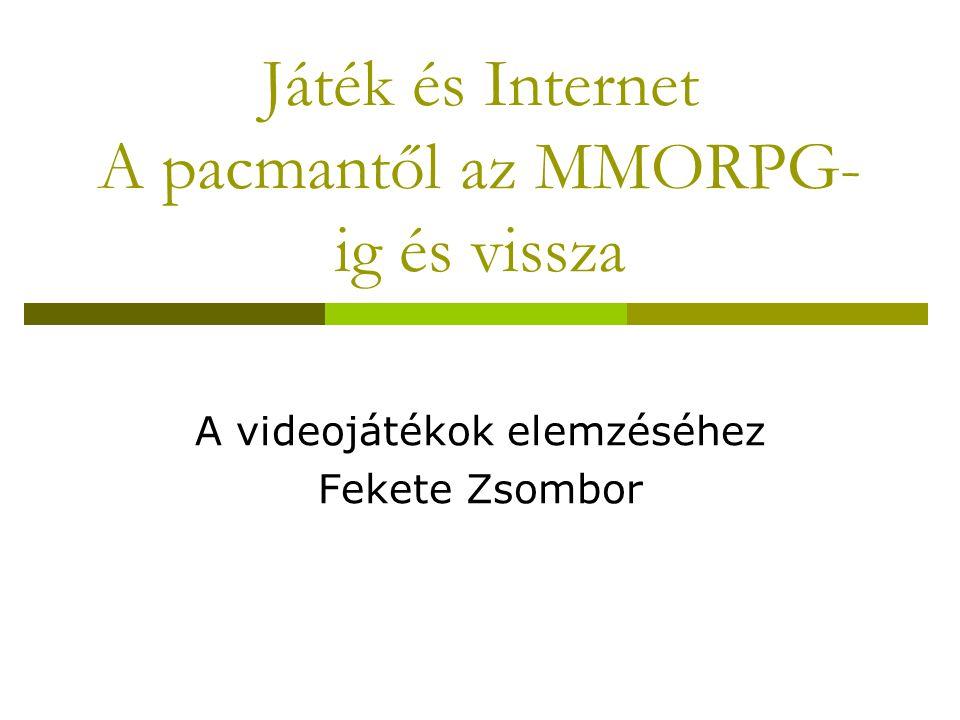 Játék és Internet A pacmantől az MMORPG- ig és vissza A videojátékok elemzéséhez Fekete Zsombor