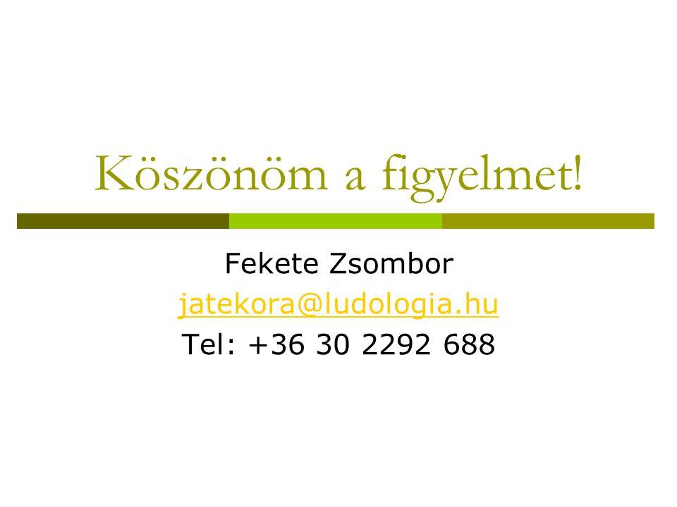Köszönöm a figyelmet! Fekete Zsombor jatekora@ludologia.hu Tel: +36 30 2292 688