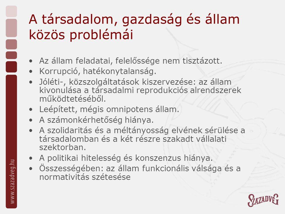 A társadalom, gazdaság és állam közös problémái Az állam feladatai, felelőssége nem tisztázott.