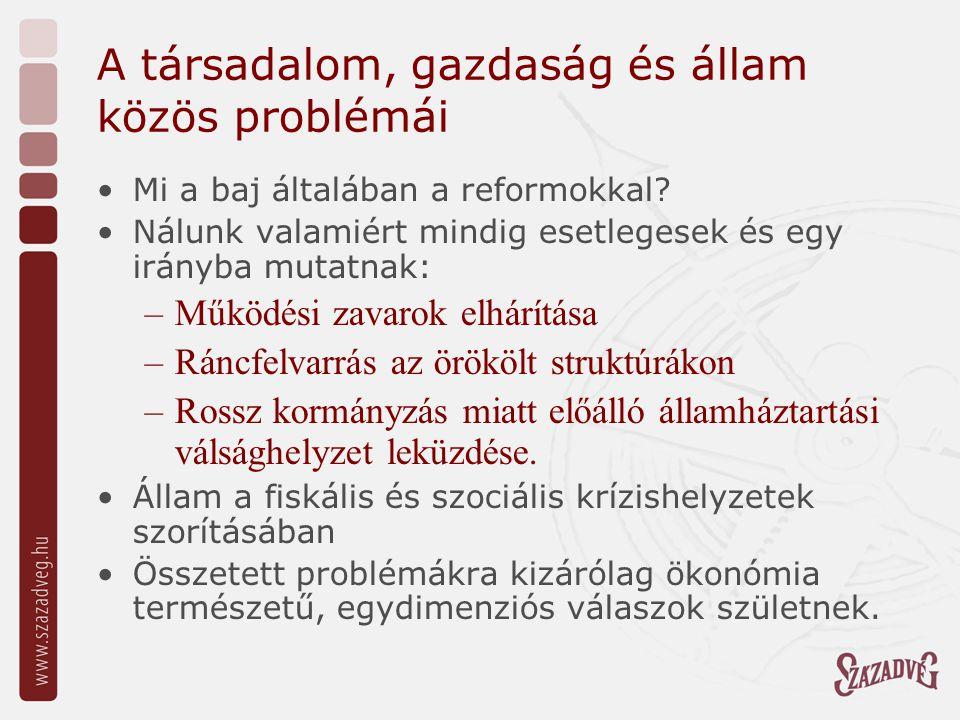 A társadalom, gazdaság és állam közös problémái Mi a baj általában a reformokkal.