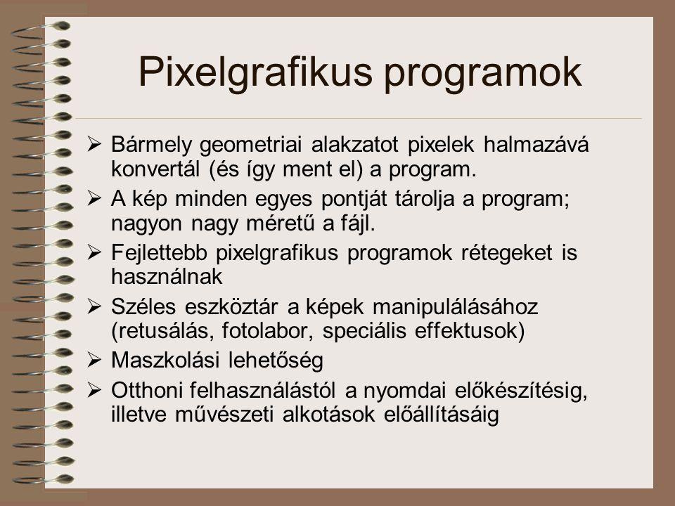 Pixelgrafikus programok  Bármely geometriai alakzatot pixelek halmazává konvertál (és így ment el) a program.  A kép minden egyes pontját tárolja a