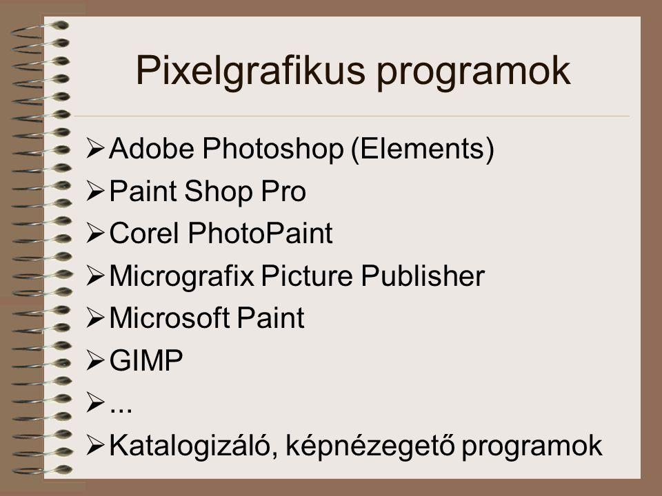 Pixelgrafikus programok  Adobe Photoshop (Elements)  Paint Shop Pro  Corel PhotoPaint  Micrografix Picture Publisher  Microsoft Paint  GIMP ...