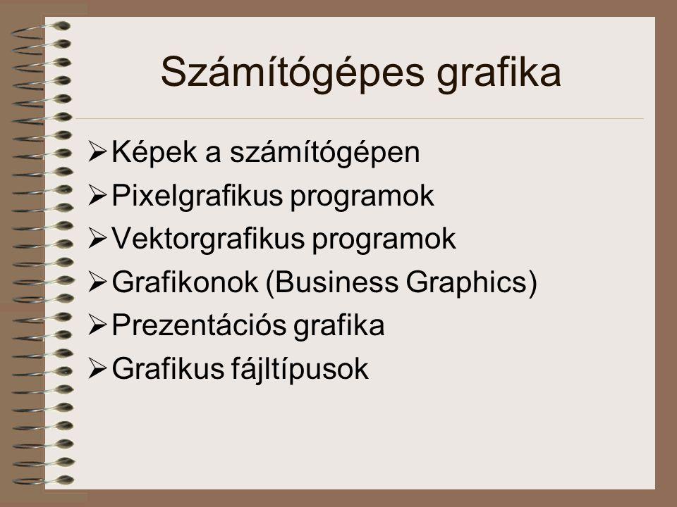 Prezentáció  Grafikonok, rajzok, diasorozatok készítése, szerkesztése  Különböző speciális hatások  Clip Art könyvtárak  Előre készített sablonok (templates)  Példa: Microsoft PowerPoint