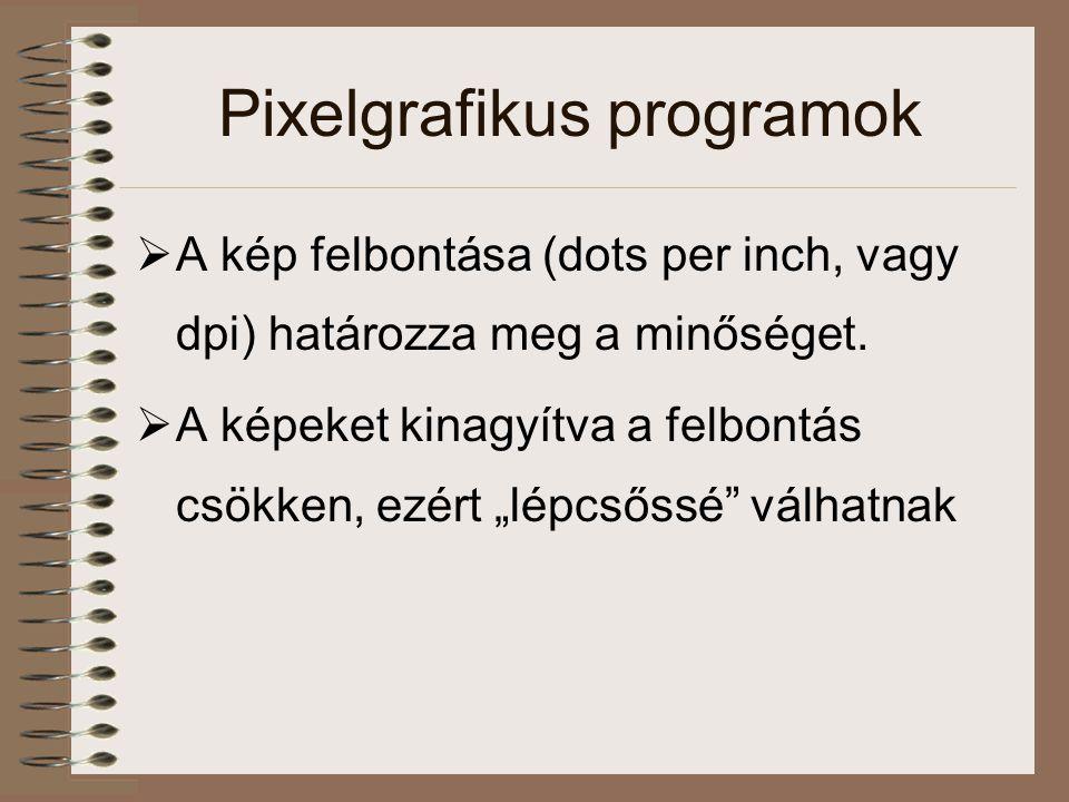 Grafikus fájltípusok: pixelgrafikus fájlok  PNG (Portable Network Graphics) –pixelgrafikus formátum –a WWW-n a GIF helyettesítésére született –a GIF licensszel védett adattömörítő algoritmust használ(t), míg a PNG teljesen ingyenest –a Netscape Navigator és az Internet Explorer legújabb verziói már támogatják … de így is ki fog halni… (szerintem)