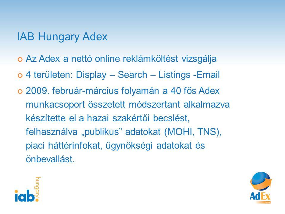 IAB Hungary Adex Az Adex a nettó online reklámköltést vizsgálja 4 területen: Display – Search – Listings -Email 2009.