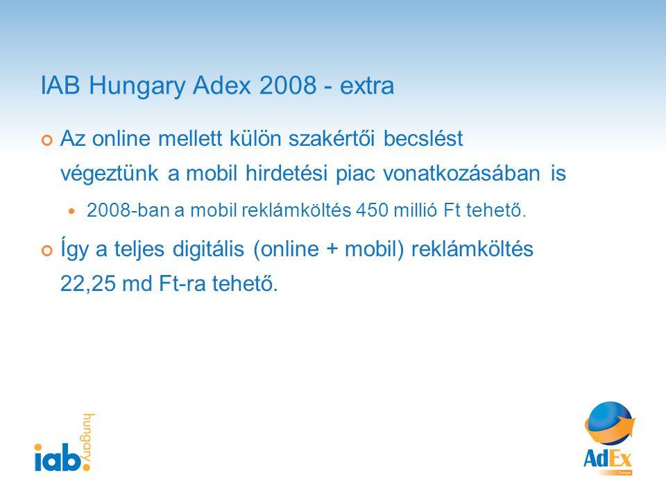 IAB Hungary Adex 2008 - extra Az online mellett külön szakértői becslést végeztünk a mobil hirdetési piac vonatkozásában is 2008-ban a mobil reklámköltés 450 millió Ft tehető.