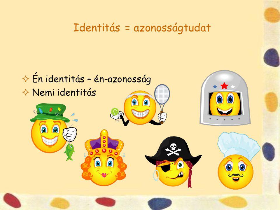Identitás = azonosságtudat  Én identitás – én-azonosság  Nemi identitás