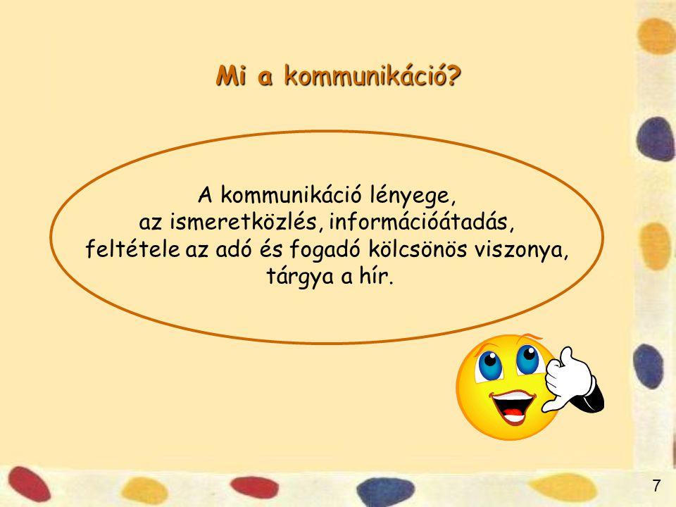 7 Mi a kommunikáció.